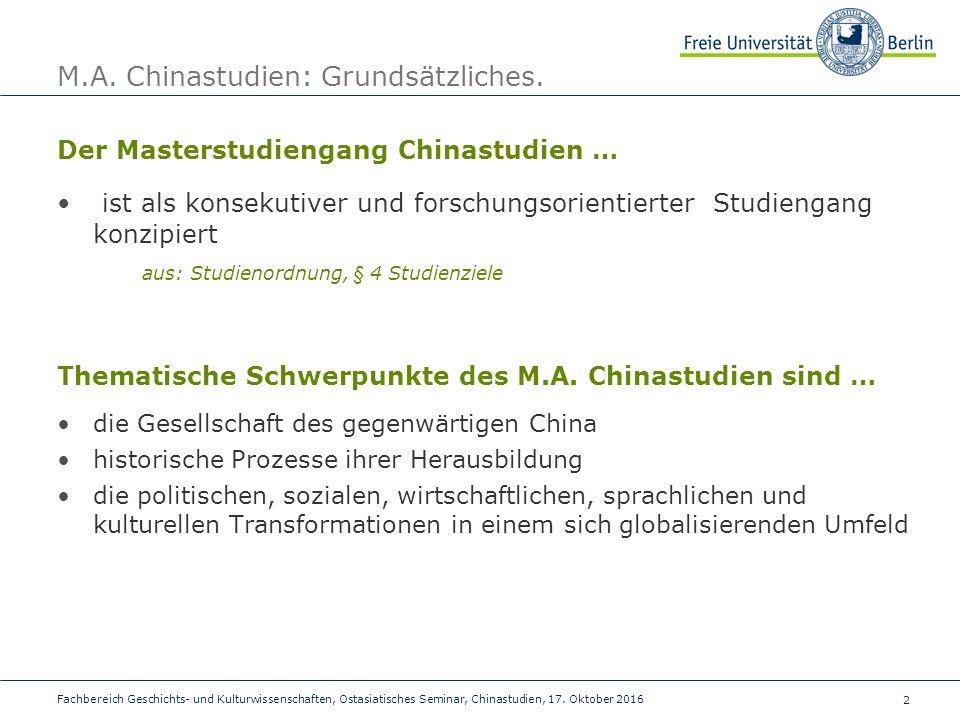 2 Fachbereich Geschichts- und Kulturwissenschaften, Ostasiatisches Seminar, Chinastudien, 17.
