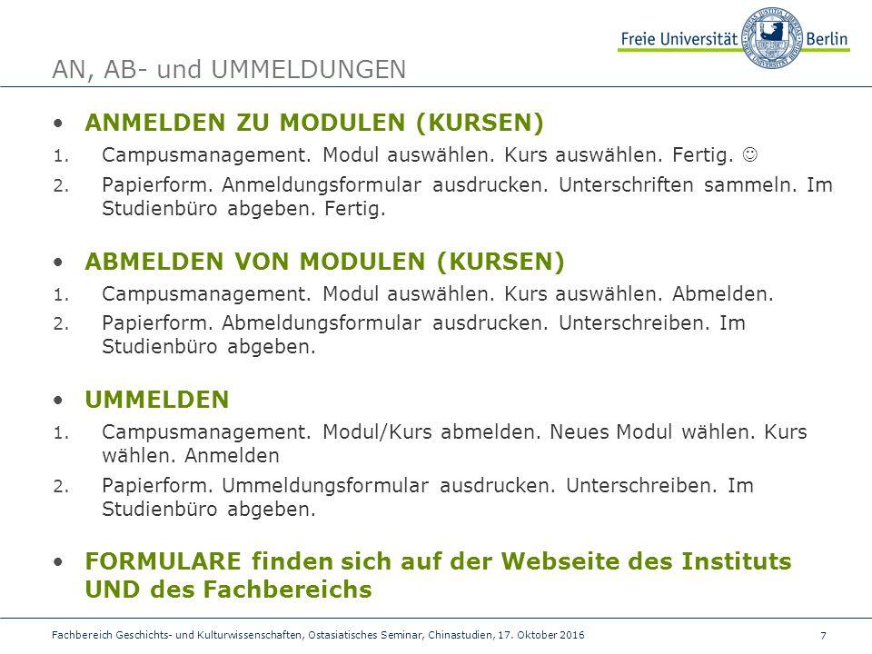 7 Fachbereich Geschichts- und Kulturwissenschaften, Ostasiatisches Seminar, Chinastudien, 17.