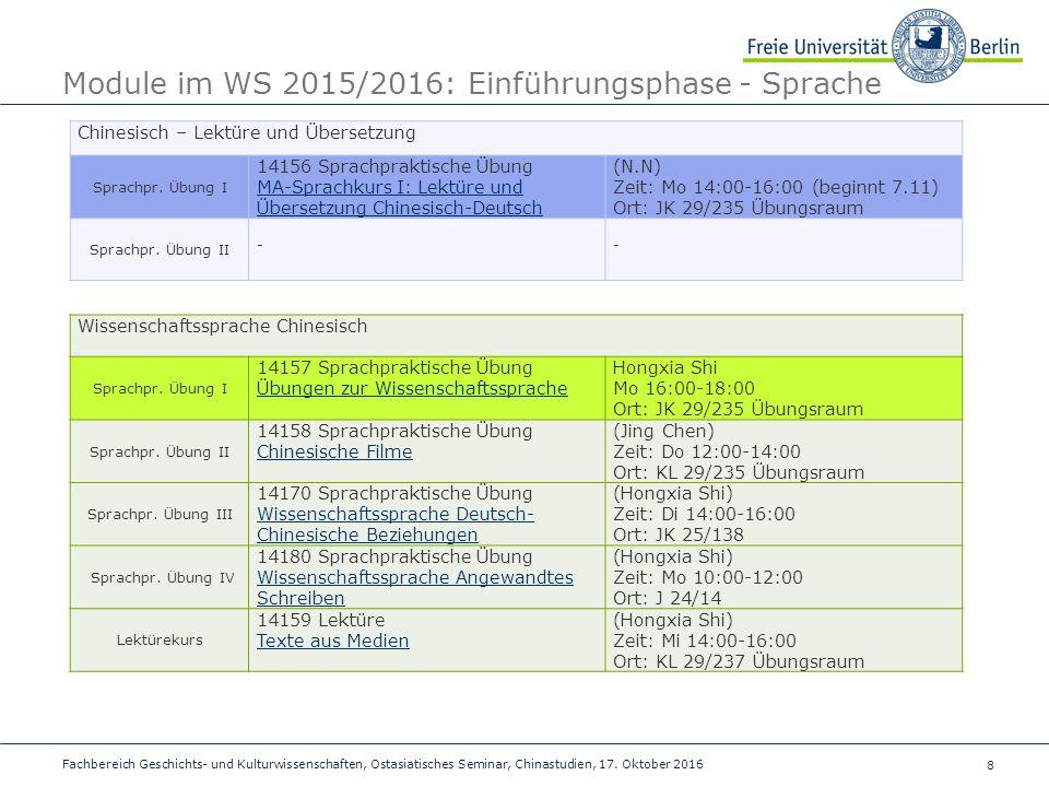 8 Fachbereich Geschichts- und Kulturwissenschaften, Ostasiatisches Seminar, Chinastudien, 17.