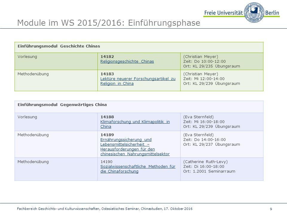 9 Fachbereich Geschichts- und Kulturwissenschaften, Ostasiatisches Seminar, Chinastudien, 17.