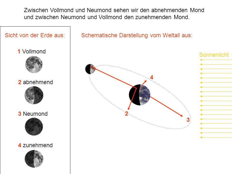 Sonnenlicht Sicht von der Erde aus: 1 Vollmond 2 abnehmend 3 Neumond 4 zunehmend 1 2 3 4 Zwischen Vollmond und Neumond sehen wir den abnehmenden Mond und zwischen Neumond und Vollmond den zunehmenden Mond.