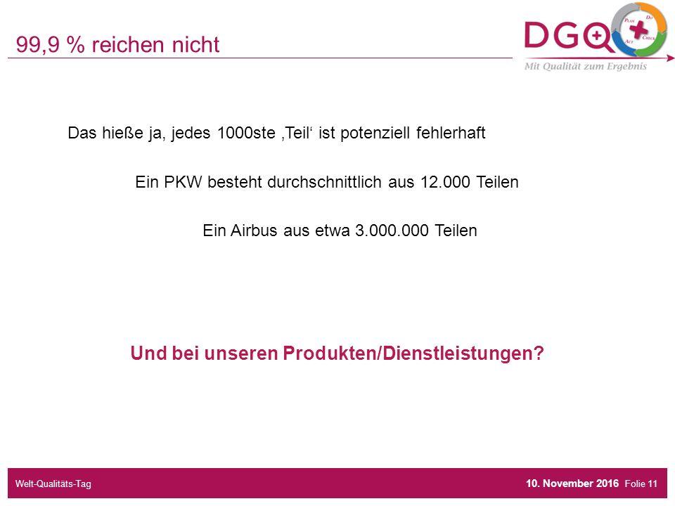 Folie Das hieße ja, jedes 1000ste 'Teil' ist potenziell fehlerhaft Ein PKW besteht durchschnittlich aus 12.000 Teilen Ein Airbus aus etwa 3.000.000 Teilen 99,9 % reichen nicht 10.