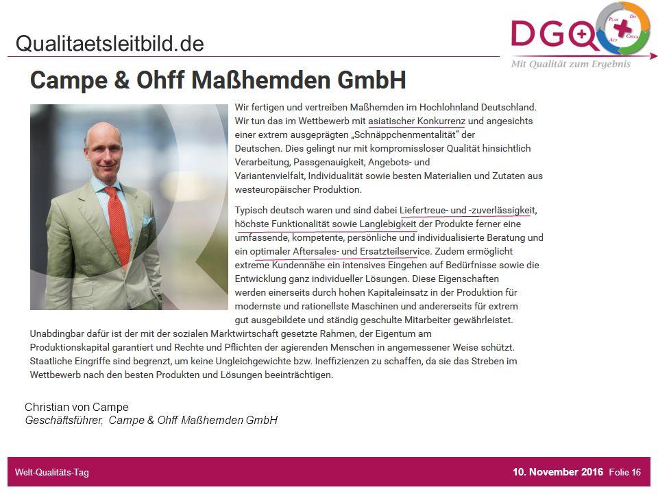 Folie Qualitaetsleitbild.de Christian von Campe Geschäftsführer, Campe & Ohff Maßhemden GmbH 10.