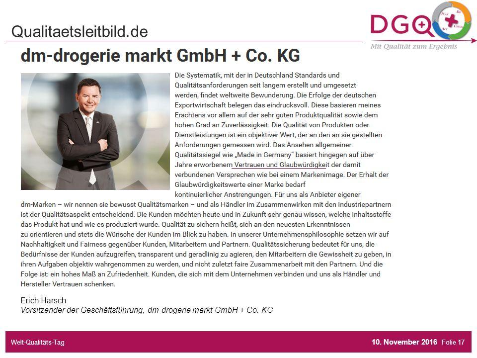 Folie Erich Harsch Vorsitzender der Geschäftsführung, dm-drogerie markt GmbH + Co.