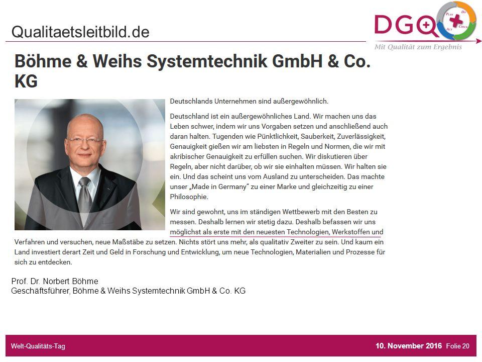 Folie Prof. Dr. Norbert Böhme Geschäftsführer, Böhme & Weihs Systemtechnik GmbH & Co.