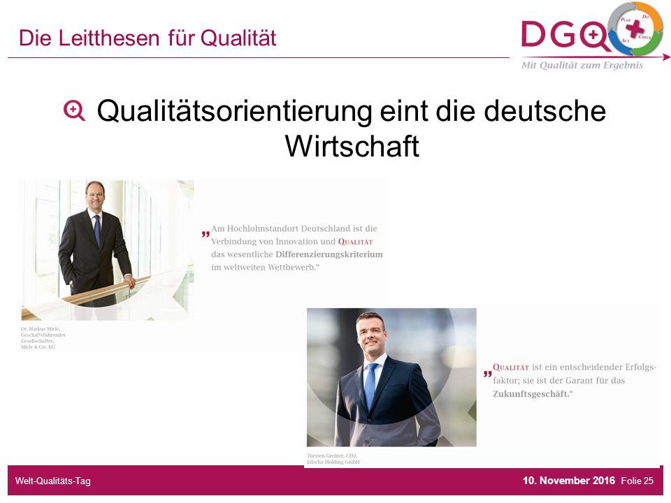 Folie Die Leitthesen für Qualität Qualitätsorientierung eint die deutsche Wirtschaft 10.