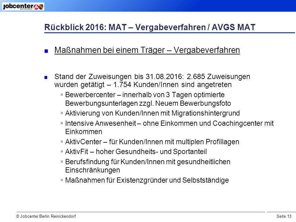 Seite 13 © Jobcenter Berlin Reinickendorf Rückblick 2016: MAT – Vergabeverfahren / AVGS MAT Maßnahmen bei einem Träger – Vergabeverfahren Stand der Zuweisungen bis 31.08.2016: 2.685 Zuweisungen wurden getätigt – 1.754 Kunden/Innen sind angetreten  Bewerbercenter – innerhalb von 3 Tagen optimierte Bewerbungsunterlagen zzgl.