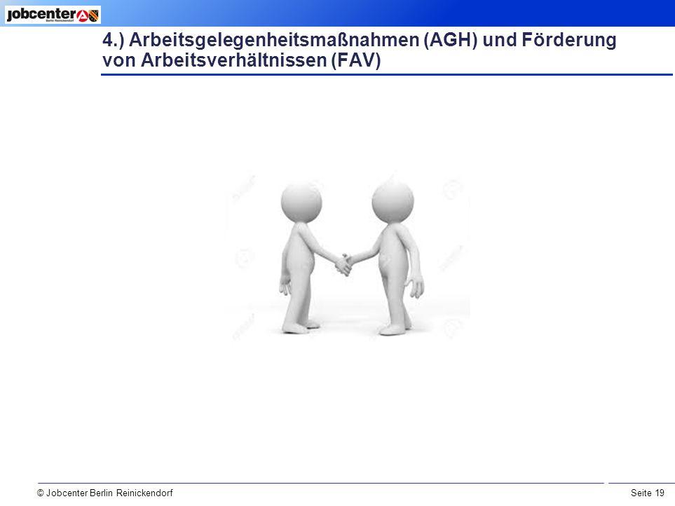 Seite 19 © Jobcenter Berlin Reinickendorf 4.) Arbeitsgelegenheitsmaßnahmen (AGH) und Förderung von Arbeitsverhältnissen (FAV)