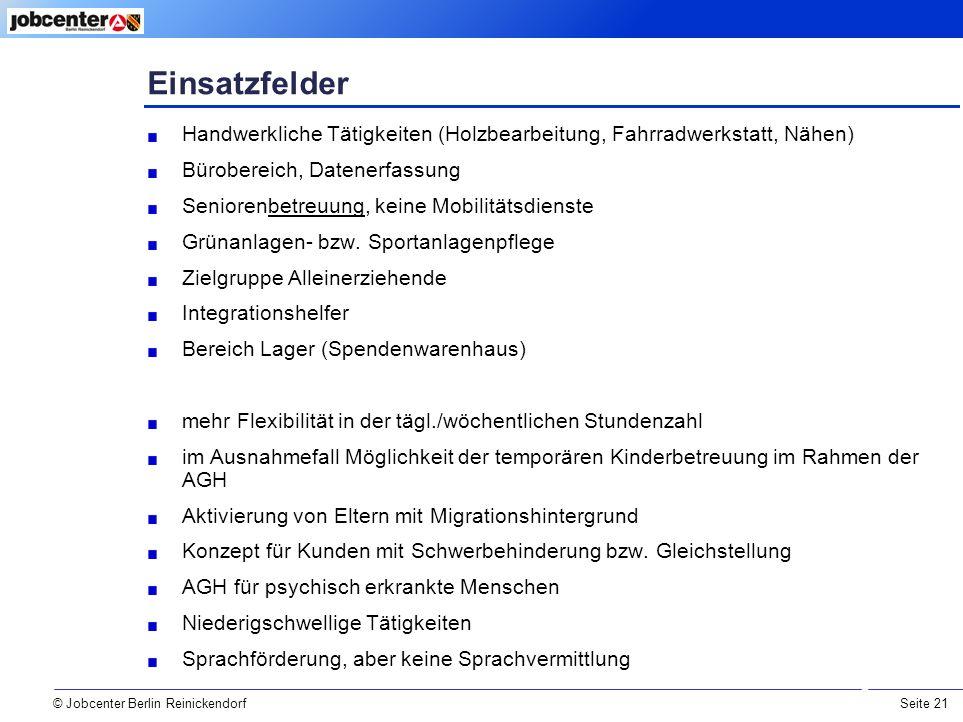 Seite 21 Einsatzfelder © Jobcenter Berlin Reinickendorf Handwerkliche Tätigkeiten (Holzbearbeitung, Fahrradwerkstatt, Nähen) Bürobereich, Datenerfassung Seniorenbetreuung, keine Mobilitätsdienste Grünanlagen- bzw.