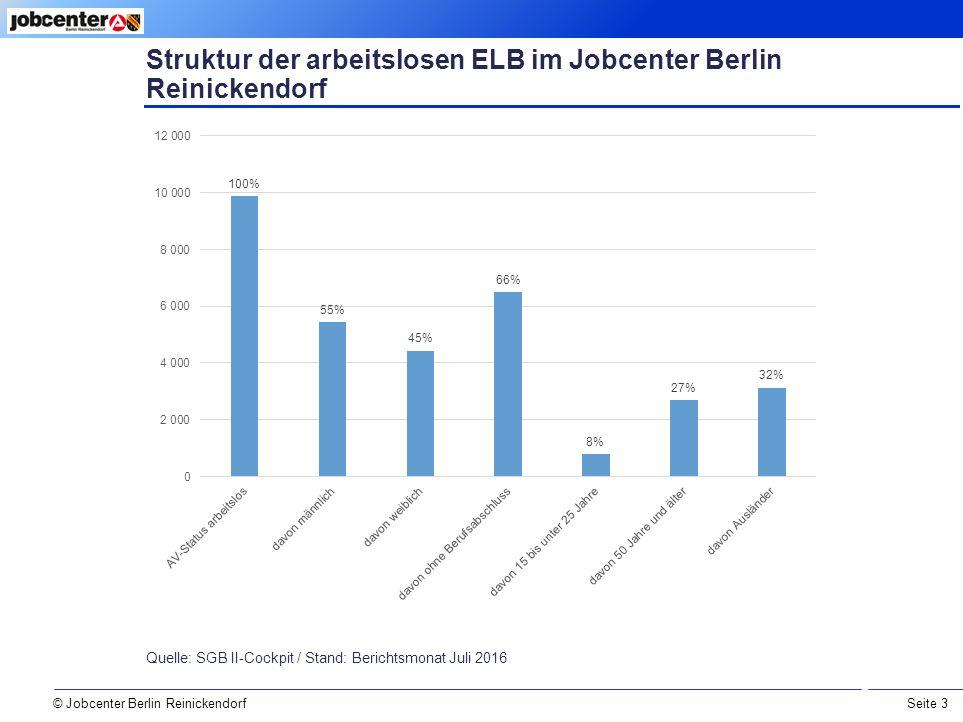 Seite 3 © Jobcenter Berlin Reinickendorf Struktur der arbeitslosen ELB im Jobcenter Berlin Reinickendorf Quelle: SGB II-Cockpit / Stand: Berichtsmonat Juli 2016
