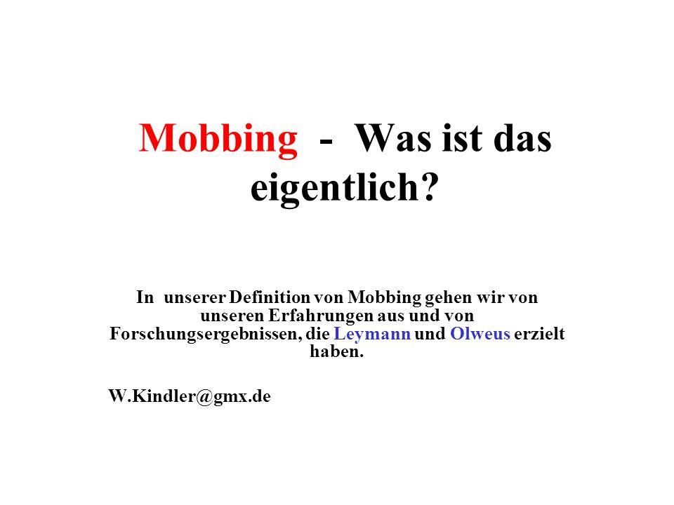 Mobbing - Was ist das eigentlich.