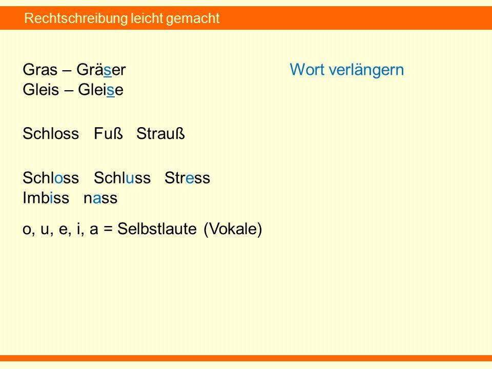 Rechtschreibung leicht gemacht Gras – Gräser Gleis – Gleise Wort verlängern Schloss Fuß Strauß Schloss Schluss Stress Imbiss nass o, u, e, i, a = Selbstlaute (Vokale)