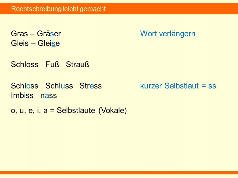 Rechtschreibung leicht gemacht Gras – Gräser Gleis – Gleise Wort verlängern Schloss Fuß Strauß Schloss Schluss Stress Imbiss nass kurzer Selbstlaut = ss o, u, e, i, a = Selbstlaute (Vokale)