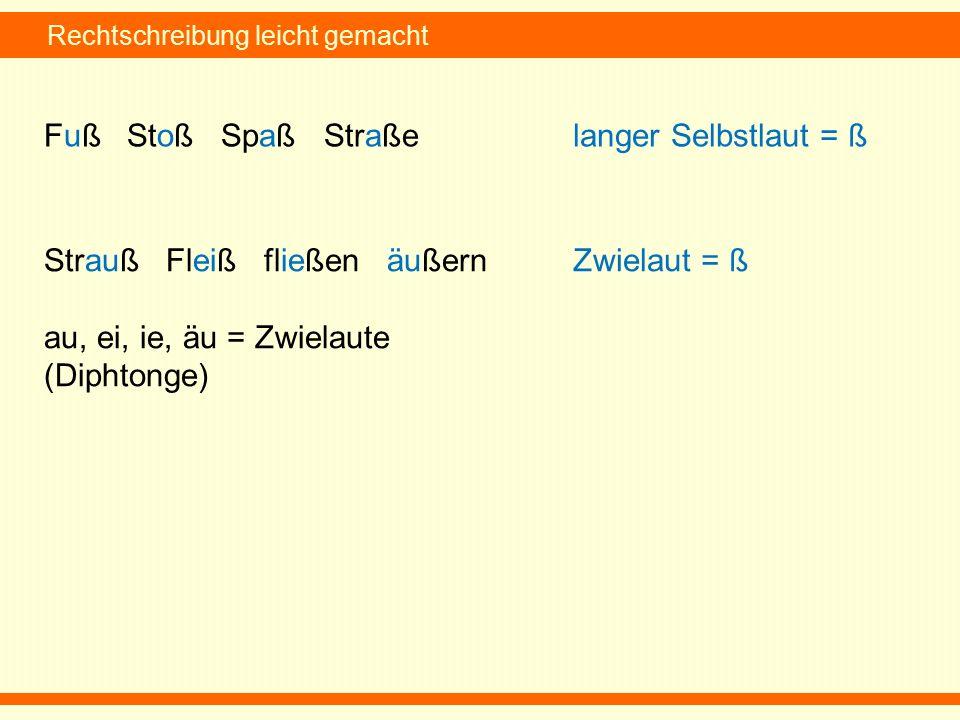 Rechtschreibung leicht gemacht Fuß Stoß Spaß Straßelanger Selbstlaut = ß Strauß Fleiß fließen äußern au, ei, ie, äu = Zwielaute (Diphtonge) Zwielaut = ß