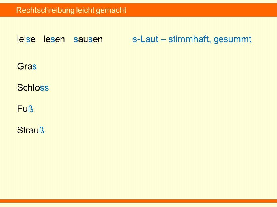 Rechtschreibung leicht gemacht leise lesen sausens-Laut – stimmhaft, gesummt Gras Schloss Fuß Strauß