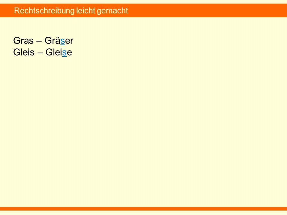Rechtschreibung leicht gemacht Gras – Gräser Gleis – Gleise