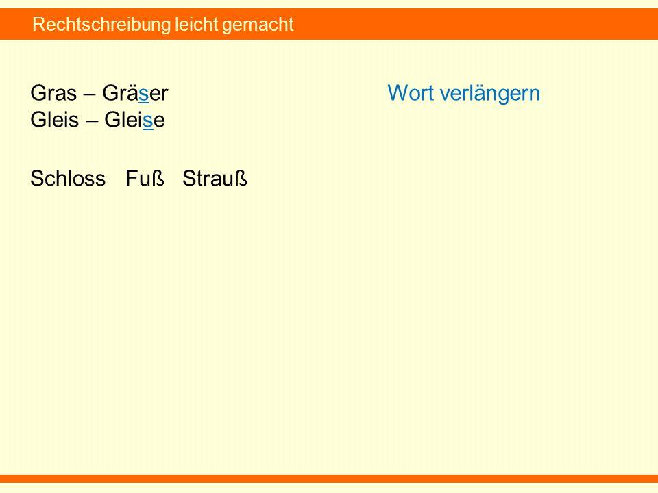 Rechtschreibung leicht gemacht Gras – Gräser Gleis – Gleise Wort verlängern Schloss Fuß Strauß