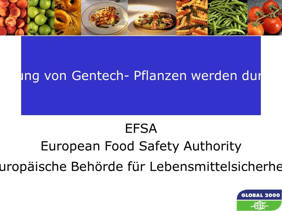 10 Die darin festgelegten Vorgaben für eine Risikoprüfung von Gentech- Pflanzen werden durch die zentrale Prüfungsbehörde nicht eingehalten : EFSA European Food Safety Authority (Europäische Behörde für Lebensmittelsicherheit)