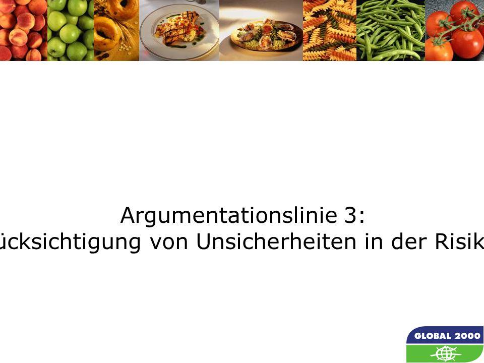 42 Argumentationslinie 3: Fehlende Berücksichtigung von Unsicherheiten in der Risikoabschätzung