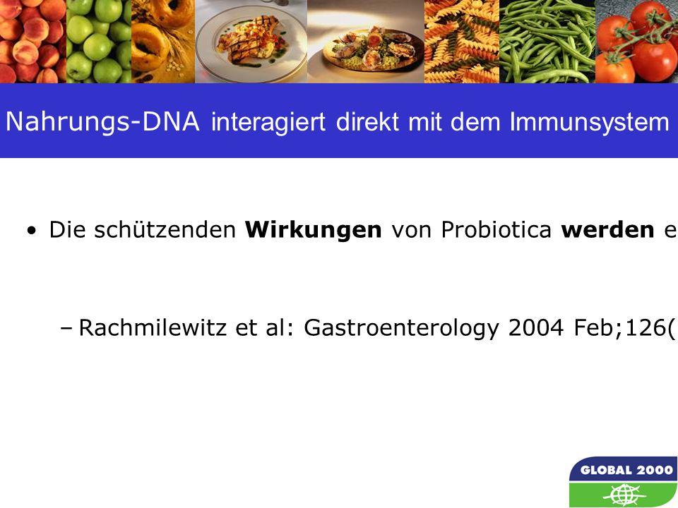 54 Nahrungs-DNA interagiert direkt mit dem Immunsystem Die schützenden Wirkungen von Probiotica werden eher durch ihre eigene DNA vermittelt als durch ihre Stoffwechselprodukte oder ihre Fähigkeit, sich im Darm anzusiedeln.