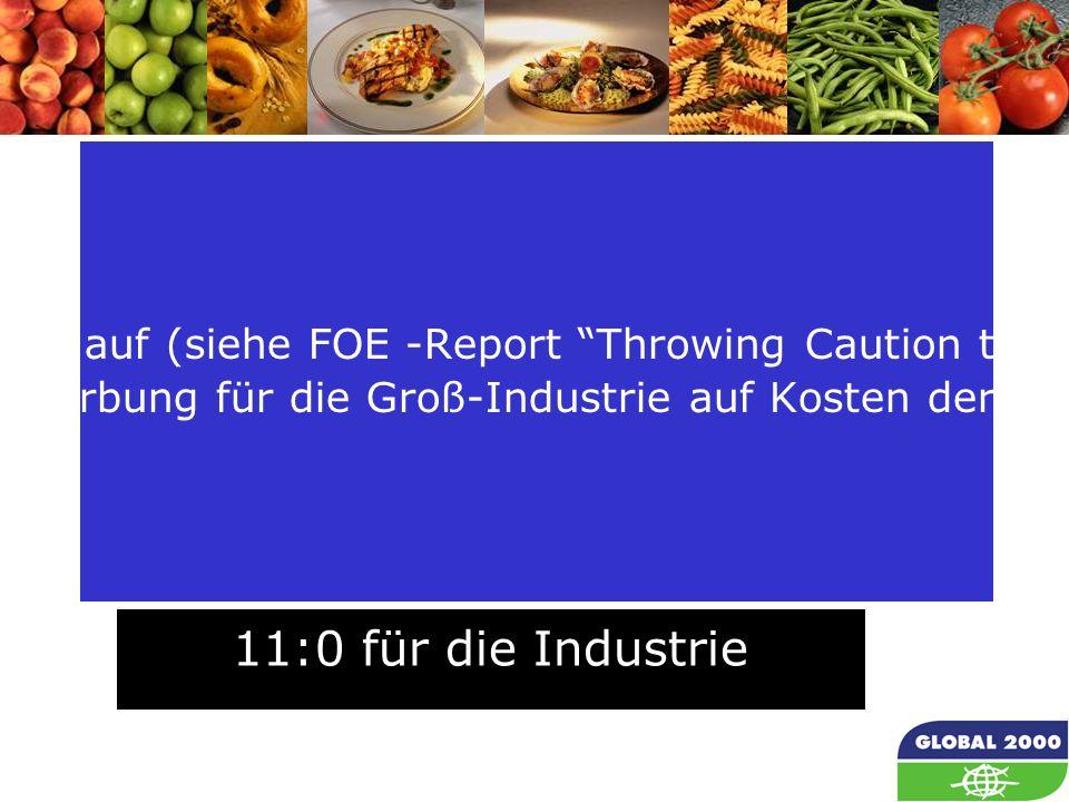 70 Darüber hinaus traten EFSA- Mitarbeiter in Werbefilmen der Biotech-Industrie auf (siehe FOE -Report Throwing Caution to the Wind ), EFSA die einzige europäische Behörde für Lebensmittelsicherheit macht also Werbung für die Groß-Industrie auf Kosten der Allgemeinheit.
