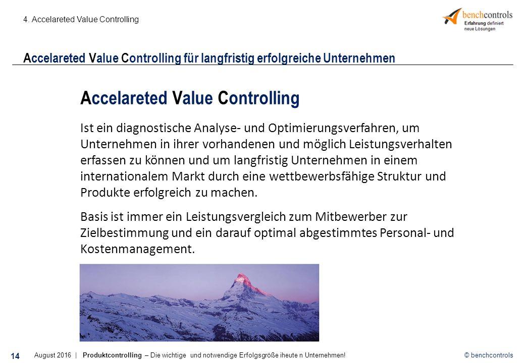 © benchcontrols Accelareted Value Controlling für langfristig erfolgreiche Unternehmen 4.