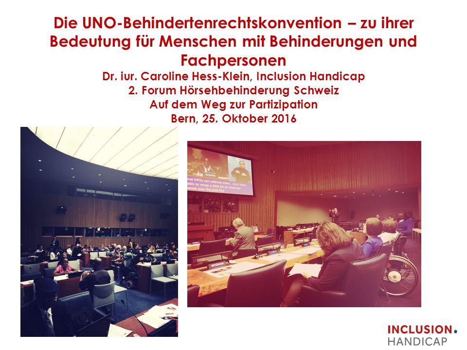 Die UNO-Behindertenrechtskonvention – zu ihrer Bedeutung für Menschen mit Behinderungen und Fachpersonen Dr.