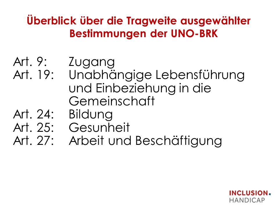 Überblick über die Tragweite ausgewählter Bestimmungen der UNO-BRK Art.