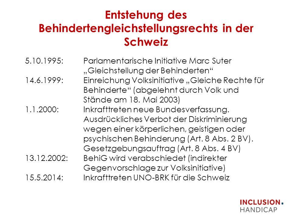 """Entstehung des Behindertengleichstellungsrechts in der Schweiz 5.10.1995: Parlamentarische Initiative Marc Suter """"Gleichstellung der Behinderten 14.6.1999: Einreichung Volksinitiative """"Gleiche Rechte für Behinderte (abgelehnt durch Volk und Stände am 18."""