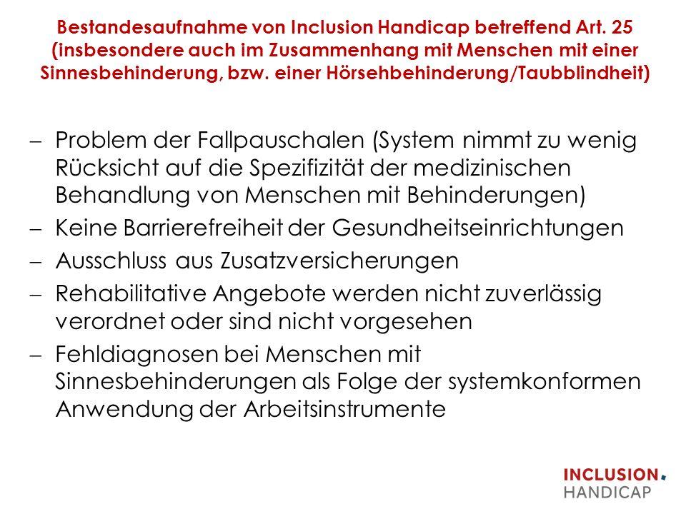 Bestandesaufnahme von Inclusion Handicap betreffend Art.
