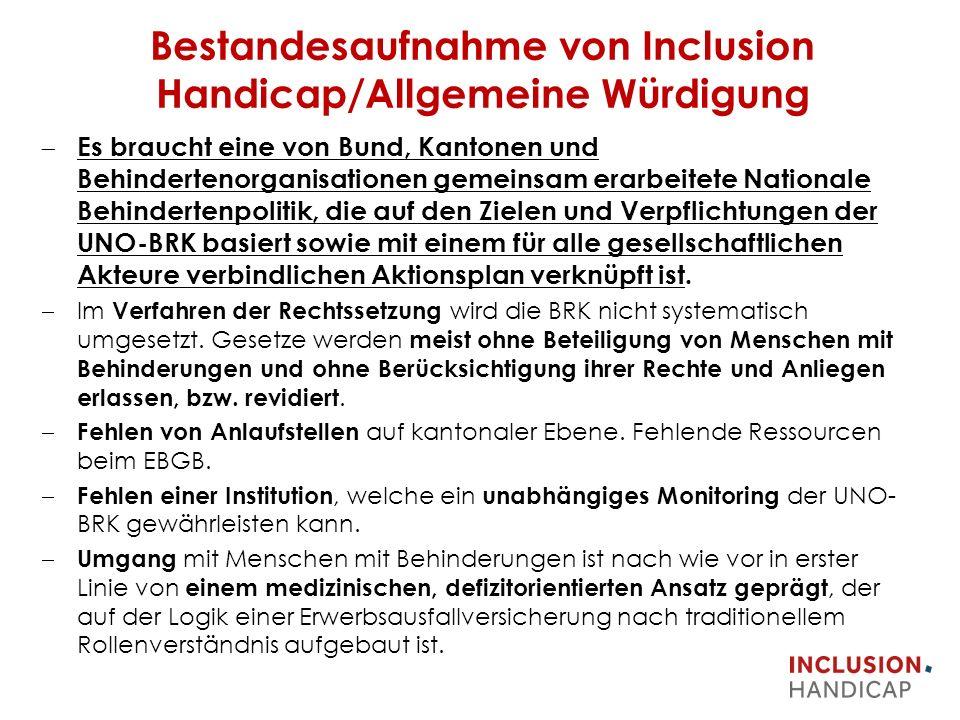 Bestandesaufnahme von Inclusion Handicap/Allgemeine Würdigung  Es braucht eine von Bund, Kantonen und Behindertenorganisationen gemeinsam erarbeitete Nationale Behindertenpolitik, die auf den Zielen und Verpflichtungen der UNO-BRK basiert sowie mit einem für alle gesellschaftlichen Akteure verbindlichen Aktionsplan verknüpft ist.