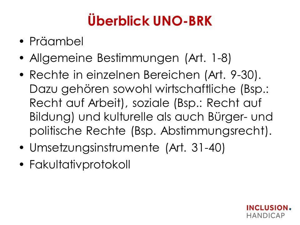 Überblick UNO-BRK Präambel Allgemeine Bestimmungen (Art.
