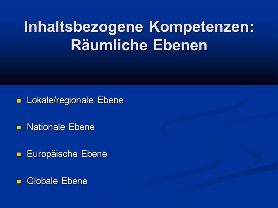 Inhaltsbezogene Kompetenzen: Räumliche Ebenen Lokale/regionale Ebene Lokale/regionale Ebene Nationale Ebene Nationale Ebene Europäische Ebene Europäische Ebene Globale Ebene Globale Ebene