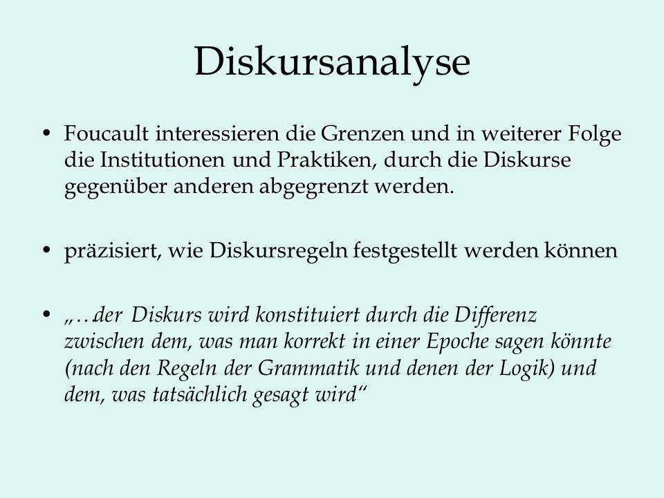 Diskursanalyse Foucault interessieren die Grenzen und in weiterer Folge die Institutionen und Praktiken, durch die Diskurse gegenüber anderen abgegrenzt werden.Foucault interessieren die Grenzen und in weiterer Folge die Institutionen und Praktiken, durch die Diskurse gegenüber anderen abgegrenzt werden.