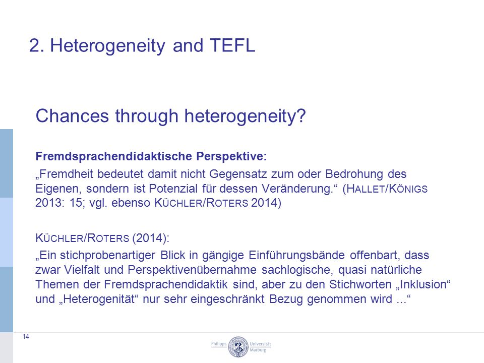 2. Heterogeneity and TEFL Chances through heterogeneity.