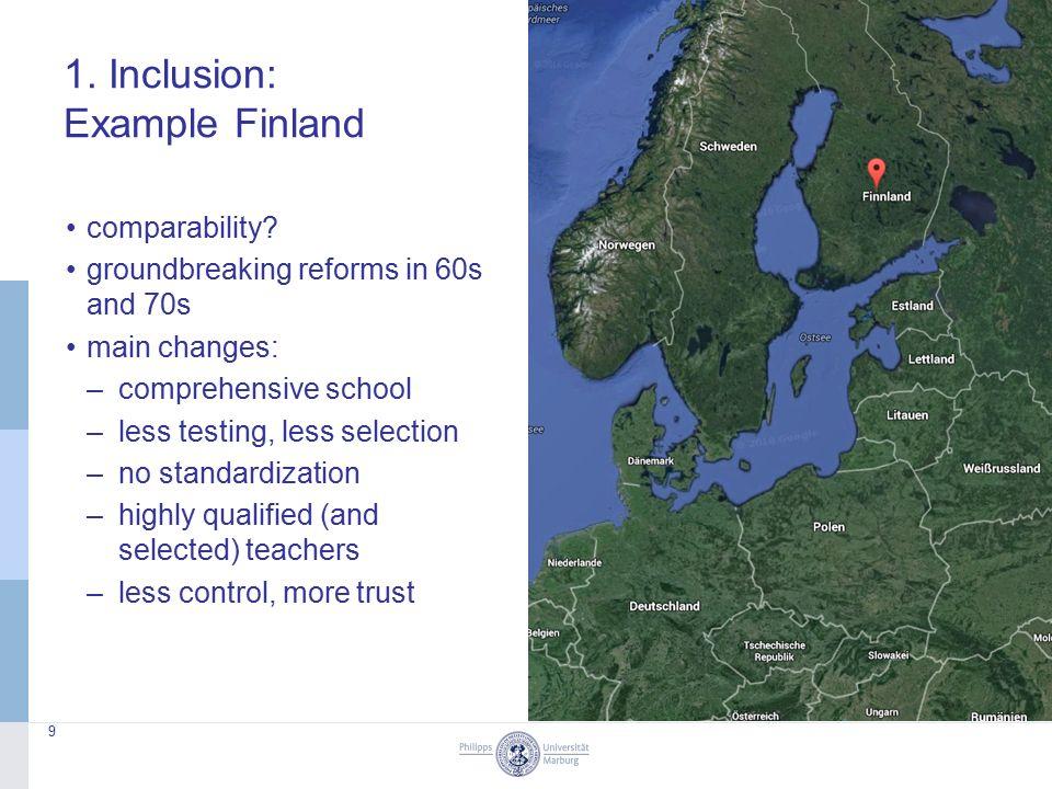 1. Inclusion: Example Finland 9 comparability.