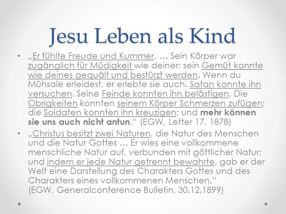 """Jesu Leben als Kind """"Er fühlte Freude und Kummer, … Sein Körper war zugänglich für Müdigkeit wie deiner; sein Gemüt konnte wie deines gequält und bestürzt werden."""