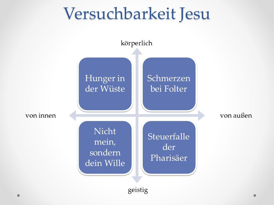 Versuchbarkeit Jesu Hunger in der Wüste Schmerzen bei Folter Nicht mein, sondern dein Wille Steuerfalle der Pharisäer von innen von außen geistig körperlich