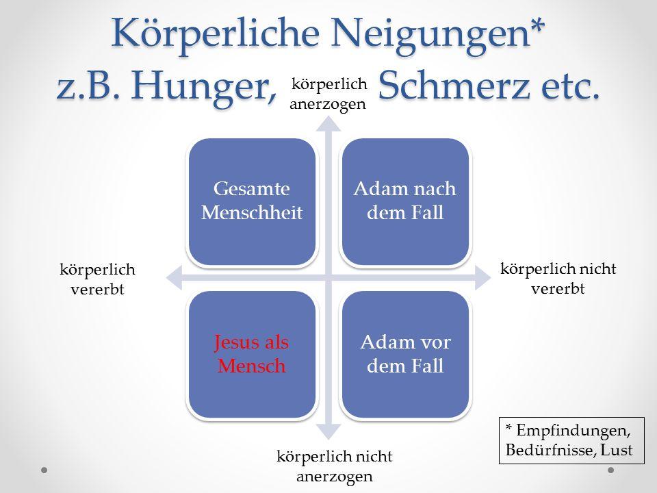Körperliche Neigungen* z.B. Hunger, Schmerz etc.