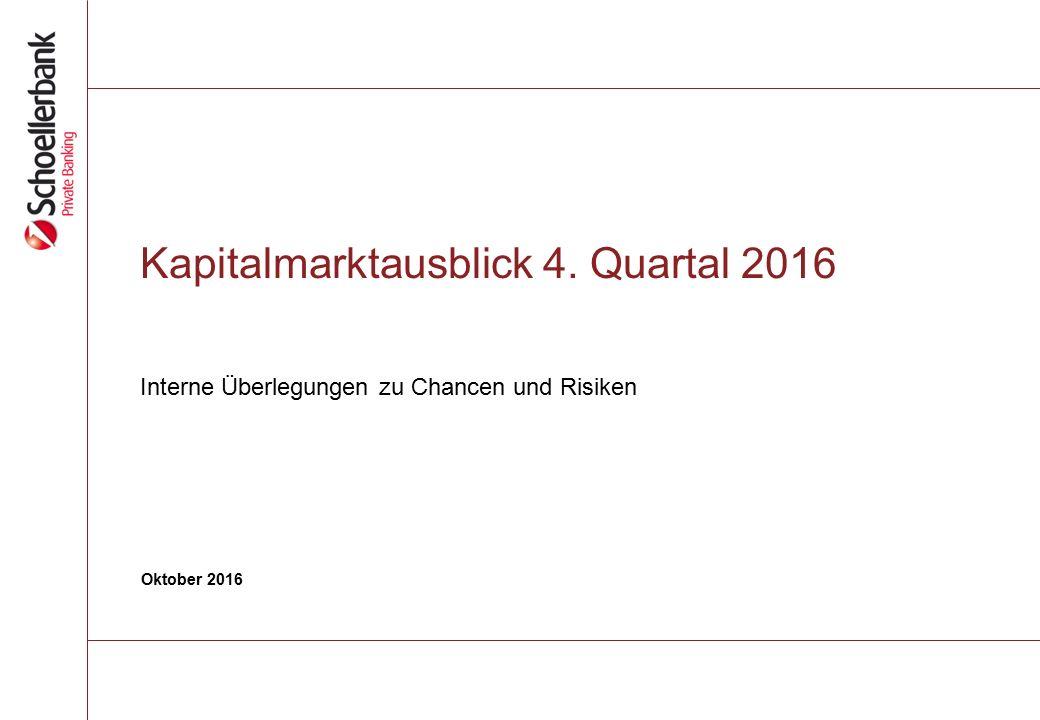 Kapitalmarktausblick 4. Quartal 2016 Interne Überlegungen zu Chancen und Risiken Oktober 2016