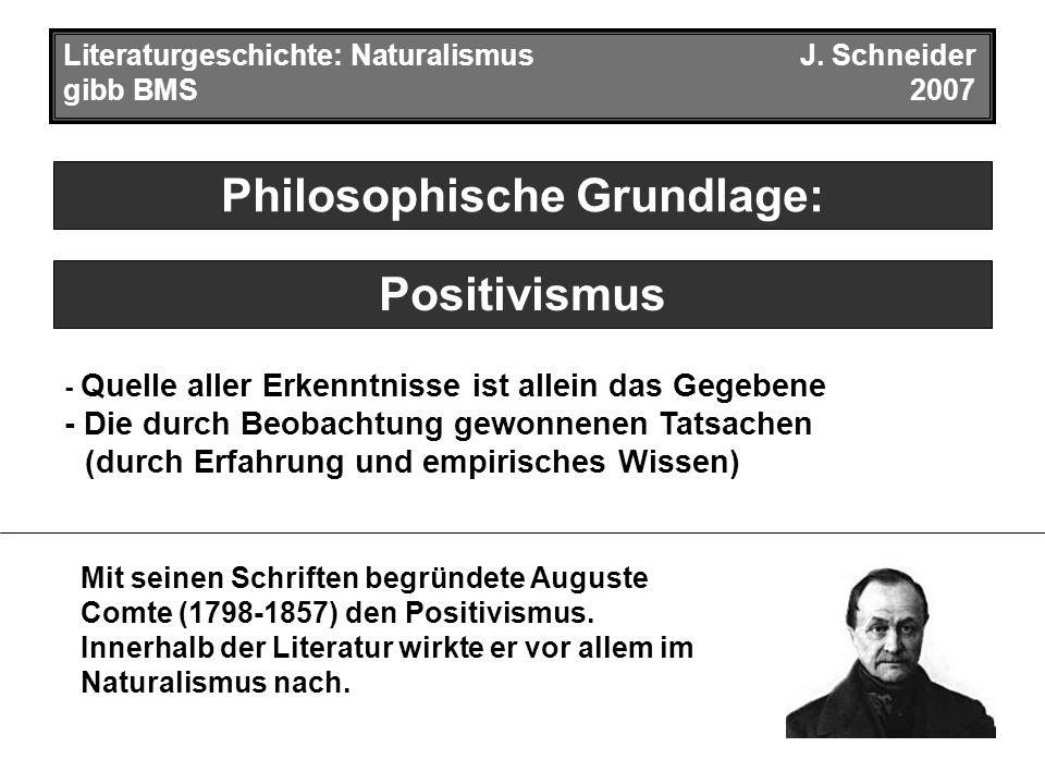 Philosophische Grundlage: Literaturgeschichte: NaturalismusJ.