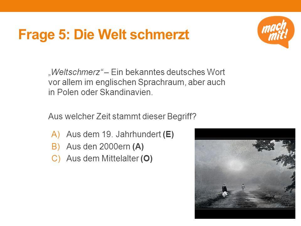 """Frage 5: Die Welt schmerzt """" Weltschmerz – Ein bekanntes deutsches Wort vor allem im englischen Sprachraum, aber auch in Polen oder Skandinavien."""