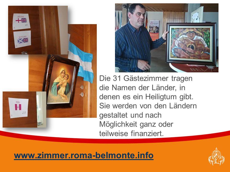 Textmasterformate durch Klicken bearbeiten 41 www.zimmer.roma-belmonte.info Die 31 Gästezimmer tragen die Namen der Länder, in denen es ein Heiligtum gibt.