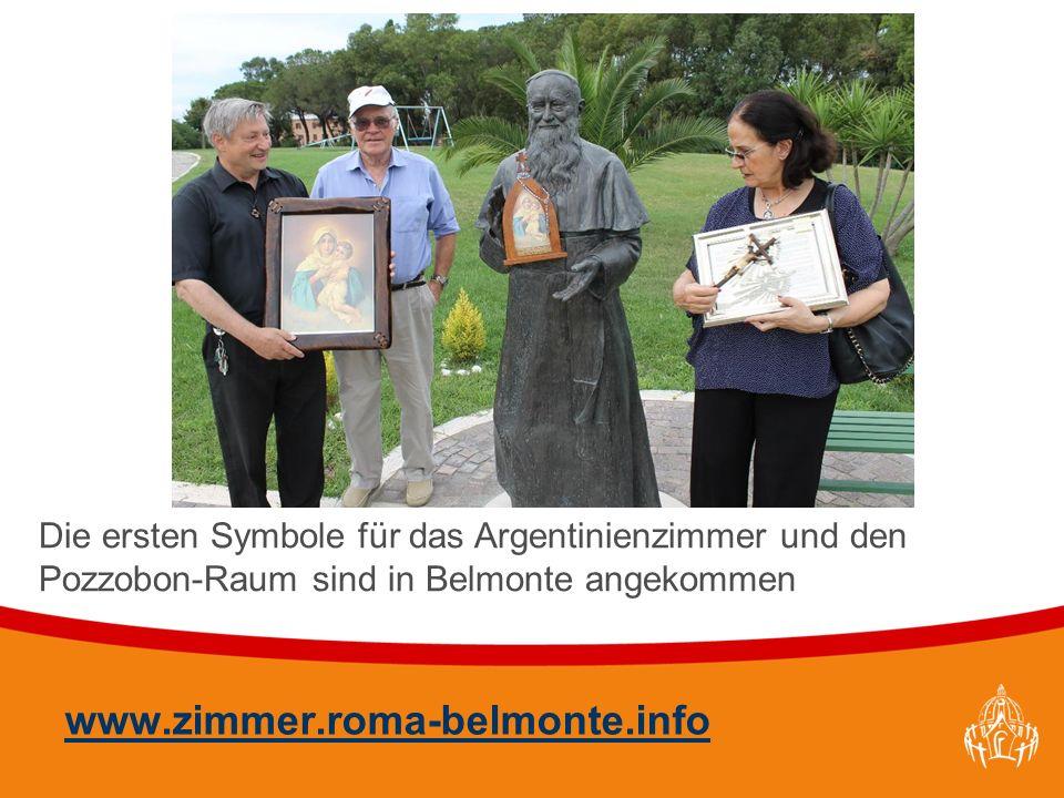 Textmasterformate durch Klicken bearbeiten 42 www.zimmer.roma-belmonte.info Die ersten Symbole für das Argentinienzimmer und den Pozzobon-Raum sind in Belmonte angekommen