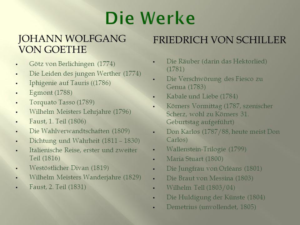 JOHANN WOLFGANG VON GOETHE FRIEDRICH VON SCHILLER  Götz von Berlichingen (1774)  Die Leiden des jungen Werther (1774)  Iphigenie auf Tauris ((1786)  Egmont (1788)  Torquato Tasso (1789)  Wilhelm Meisters Lehrjahre (1796)  Faust, 1.