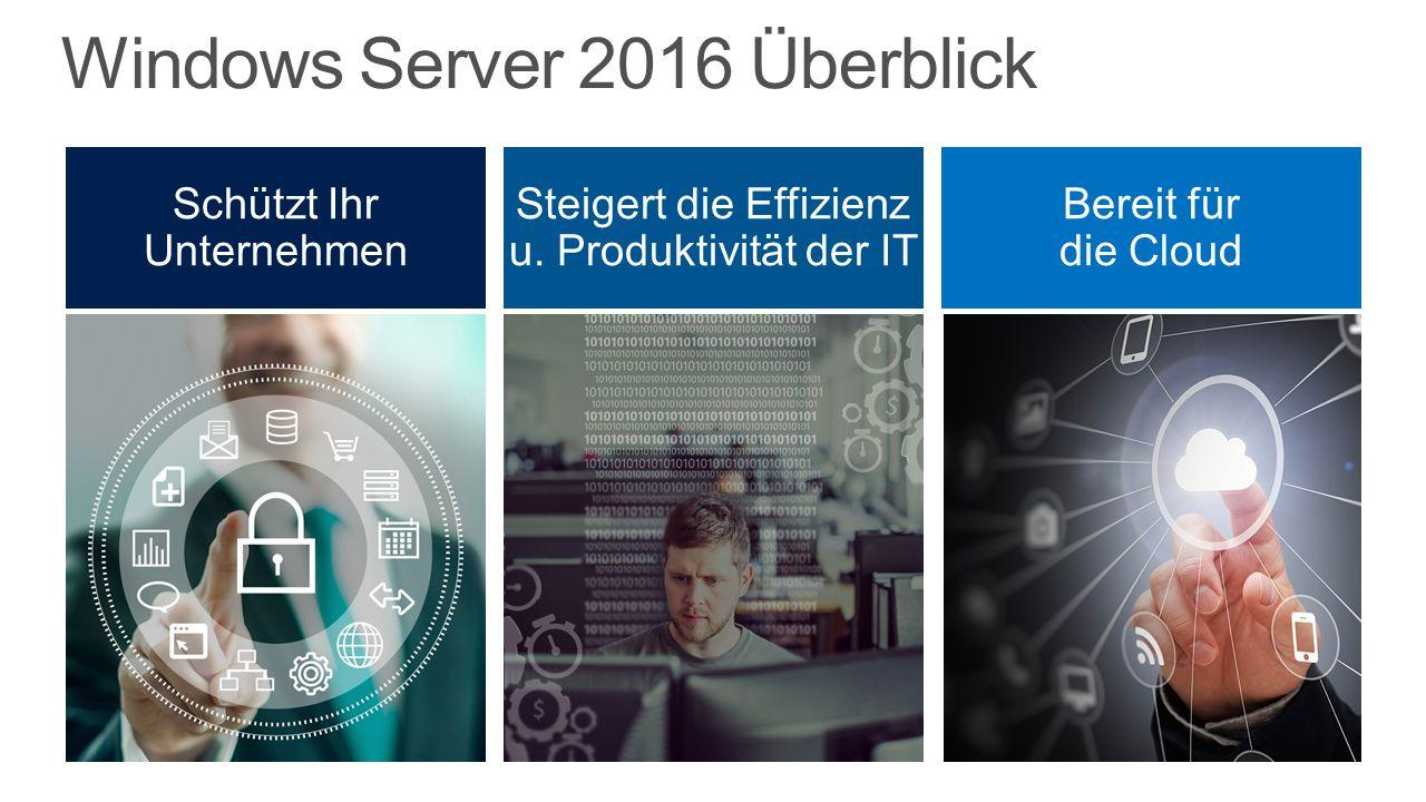 Windows Server 2016 Überblick Bereit für die Cloud Steigert die Effizienz u.