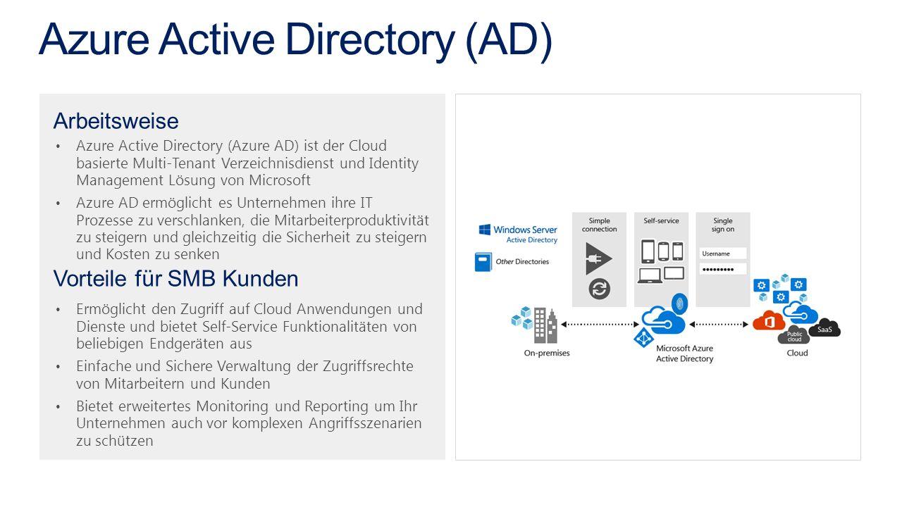 Azure Active Directory (Azure AD) ist der Cloud basierte Multi-Tenant Verzeichnisdienst und Identity Management Lösung von Microsoft Azure AD ermöglicht es Unternehmen ihre IT Prozesse zu verschlanken, die Mitarbeiterproduktivität zu steigern und gleichzeitig die Sicherheit zu steigern und Kosten zu senken Ermöglicht den Zugriff auf Cloud Anwendungen und Dienste und bietet Self-Service Funktionalitäten von beliebigen Endgeräten aus Einfache und Sichere Verwaltung der Zugriffsrechte von Mitarbeitern und Kunden Bietet erweitertes Monitoring und Reporting um Ihr Unternehmen auch vor komplexen Angriffsszenarien zu schützen Arbeitsweise Vorteile für SMB Kunden