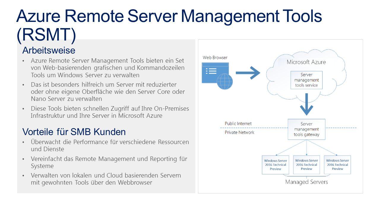 Arbeitsweise Azure Remote Server Management Tools bieten ein Set von Web-basierenden grafischen und Kommandozeilen Tools um Windows Server zu verwalten Das ist besonders hilfreich um Server mit reduzierter oder ohne eigene Oberfläche wie den Server Core oder Nano Server zu verwalten Diese Tools bieten schnellen Zugriff auf Ihre On-Premises Infrastruktur und Ihre Server in Microsoft Azure Vorteile für SMB Kunden Überwacht die Performance für verschiedene Ressourcen und Dienste Vereinfacht das Remote Management und Reporting für Systeme Verwalten von lokalen und Cloud basierenden Servern mit gewohnten Tools über den Webbrowser
