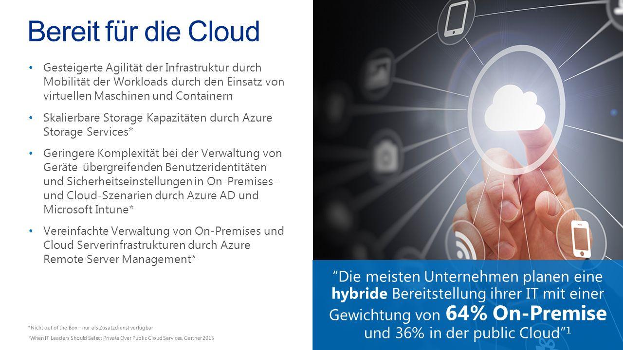 Bereit für die Cloud Gesteigerte Agilität der Infrastruktur durch Mobilität der Workloads durch den Einsatz von virtuellen Maschinen und Containern Skalierbare Storage Kapazitäten durch Azure Storage Services* Geringere Komplexität bei der Verwaltung von Geräte-übergreifenden Benutzeridentitäten und Sicherheitseinstellungen in On-Premises- und Cloud-Szenarien durch Azure AD und Microsoft Intune* Vereinfachte Verwaltung von On-Premises und Cloud Serverinfrastrukturen durch Azure Remote Server Management* Die meisten Unternehmen planen eine hybride Bereitstellung ihrer IT mit einer Gewichtung von 64% On-Premise und 36% in der public Cloud 1