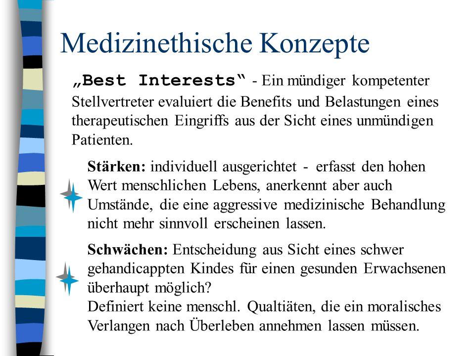 """Medizinethische Konzepte """"Best Interests - Ein mündiger kompetenter Stellvertreter evaluiert die Benefits und Belastungen eines therapeutischen Eingriffs aus der Sicht eines unmündigen Patienten."""
